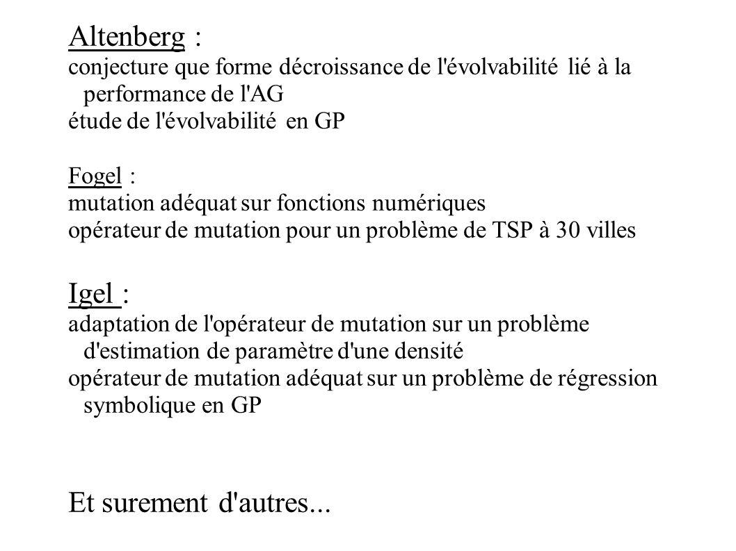 Altenberg : conjecture que forme décroissance de l'évolvabilité lié à la performance de l'AG étude de l'évolvabilité en GP Fogel : mutation adéquat su