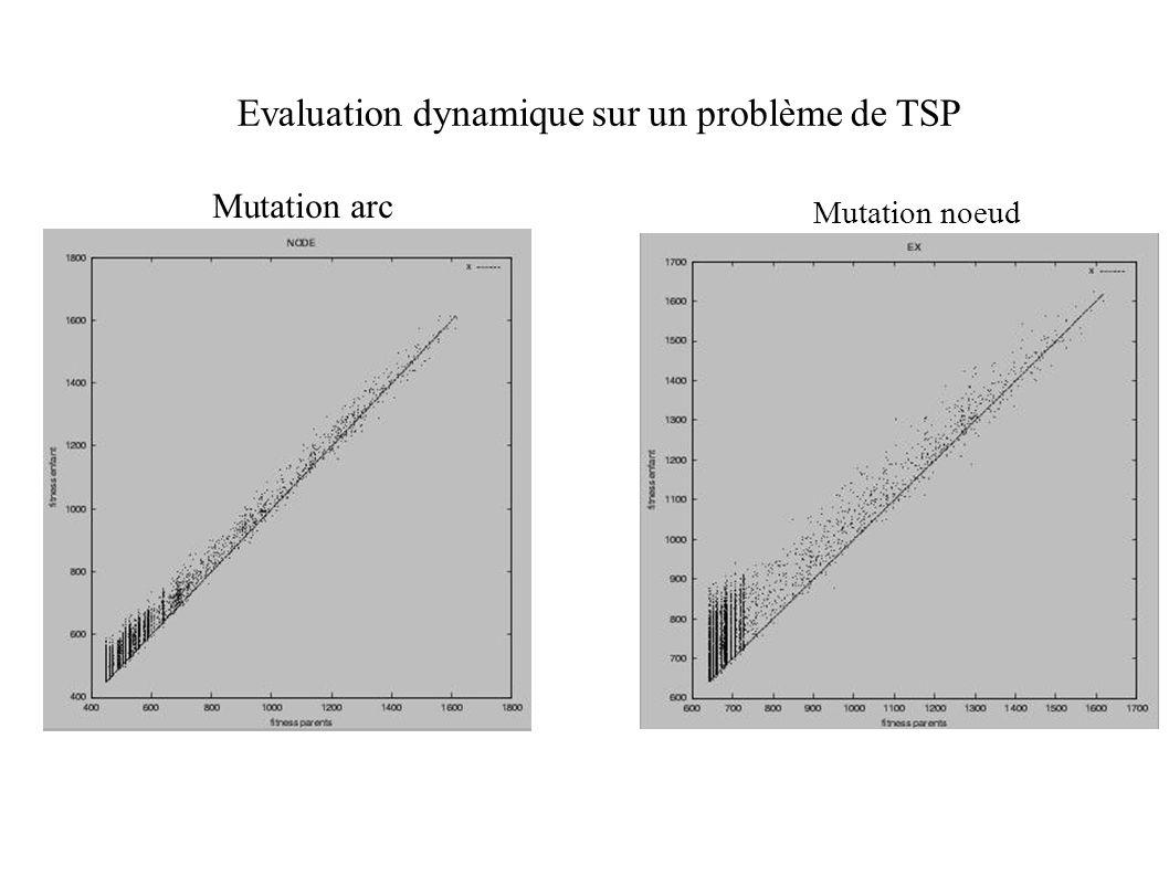 Evaluation dynamique sur un problème de TSP Mutation noeud Mutation arc