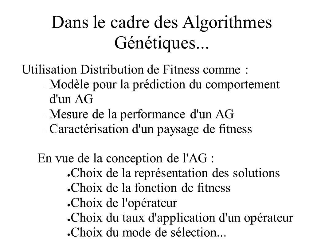 Dans le cadre des Algorithmes Génétiques... Utilisation Distribution de Fitness comme : Modèle pour la prédiction du comportement d'un AG Mesure de la