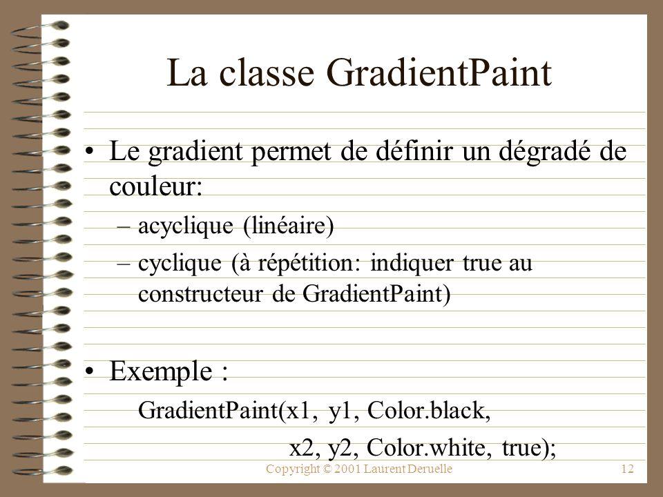 Copyright © 2001 Laurent Deruelle12 La classe GradientPaint Le gradient permet de définir un dégradé de couleur: –acyclique (linéaire) –cyclique (à répétition: indiquer true au constructeur de GradientPaint) Exemple : GradientPaint(x1, y1, Color.black, x2, y2, Color.white, true);