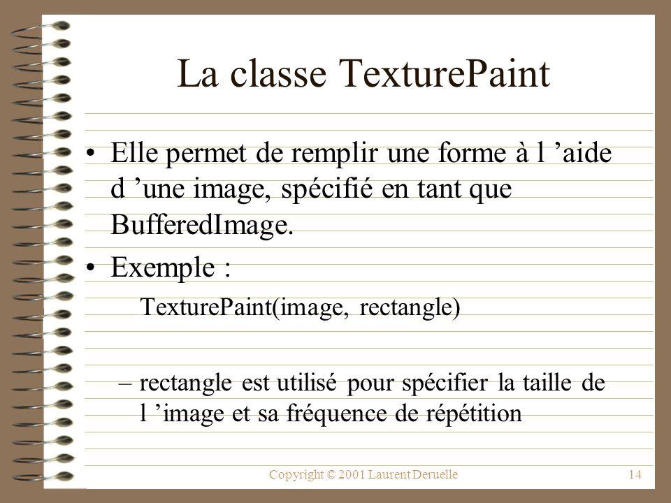 Copyright © 2001 Laurent Deruelle14 La classe TexturePaint Elle permet de remplir une forme à l aide d une image, spécifié en tant que BufferedImage.