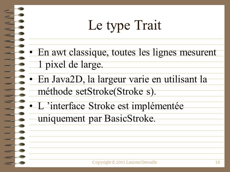 Copyright © 2001 Laurent Deruelle16 Le type Trait En awt classique, toutes les lignes mesurent 1 pixel de large. En Java2D, la largeur varie en utilis
