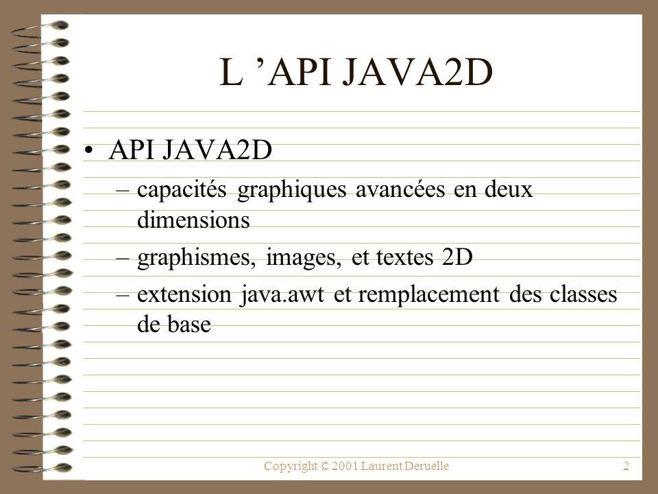 Copyright © 2001 Laurent Deruelle2 L API JAVA2D API JAVA2D –capacités graphiques avancées en deux dimensions –graphismes, images, et textes 2D –extension java.awt et remplacement des classes de base