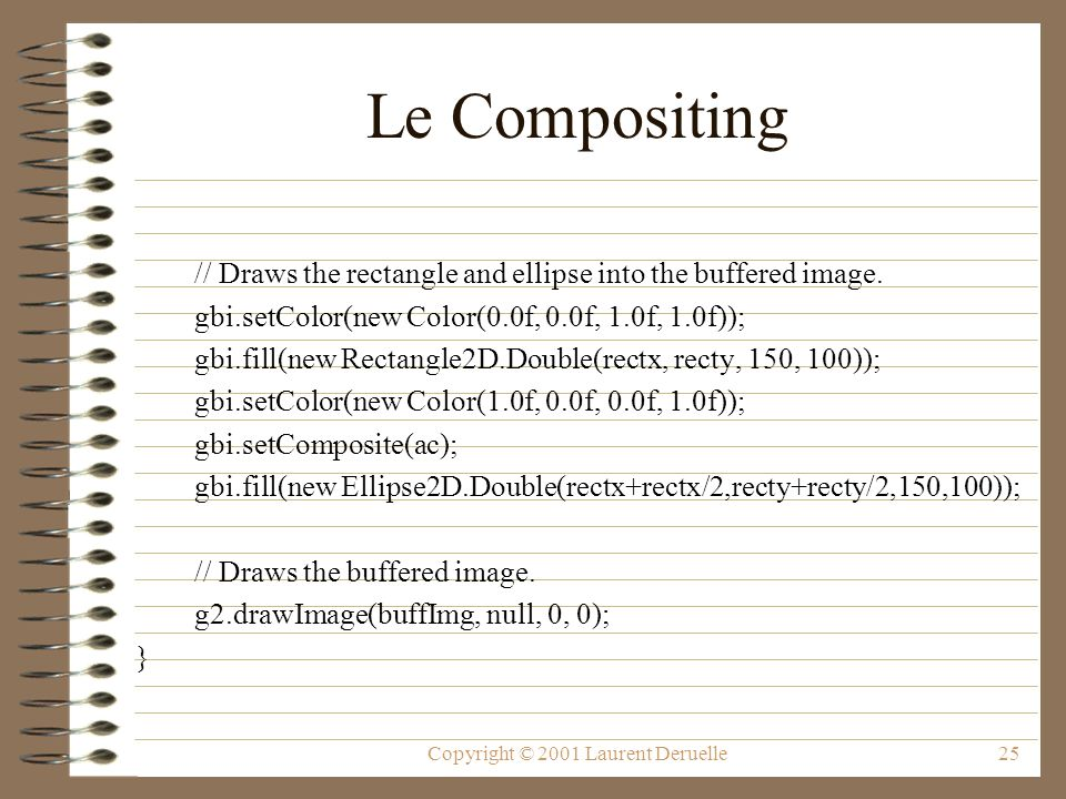 Copyright © 2001 Laurent Deruelle25 Le Compositing // Draws the rectangle and ellipse into the buffered image.