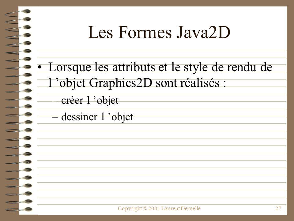 Copyright © 2001 Laurent Deruelle27 Les Formes Java2D Lorsque les attributs et le style de rendu de l objet Graphics2D sont réalisés : –créer l objet –dessiner l objet