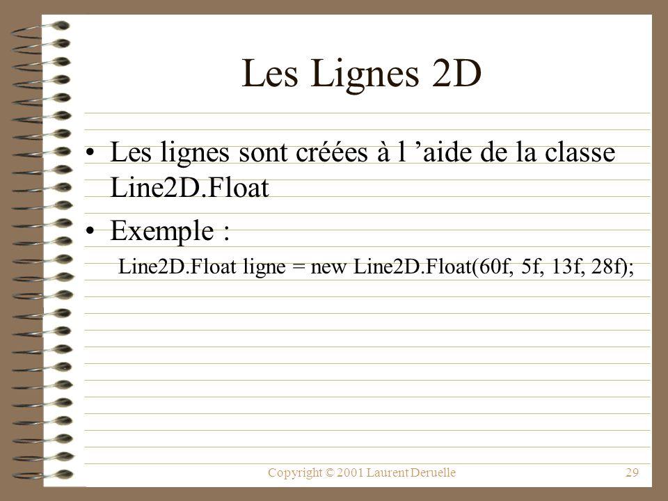 Copyright © 2001 Laurent Deruelle29 Les Lignes 2D Les lignes sont créées à l aide de la classe Line2D.Float Exemple : Line2D.Float ligne = new Line2D.Float(60f, 5f, 13f, 28f);
