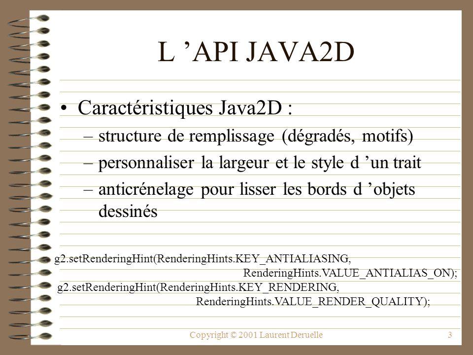 Copyright © 2001 Laurent Deruelle3 L API JAVA2D Caractéristiques Java2D : –structure de remplissage (dégradés, motifs) –personnaliser la largeur et le style d un trait –anticrénelage pour lisser les bords d objets dessinés g2.setRenderingHint(RenderingHints.KEY_ANTIALIASING, RenderingHints.VALUE_ANTIALIAS_ON); g2.setRenderingHint(RenderingHints.KEY_RENDERING, RenderingHints.VALUE_RENDER_QUALITY);