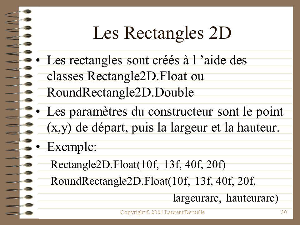 Copyright © 2001 Laurent Deruelle30 Les Rectangles 2D Les rectangles sont créés à l aide des classes Rectangle2D.Float ou RoundRectangle2D.Double Les paramètres du constructeur sont le point (x,y) de départ, puis la largeur et la hauteur.