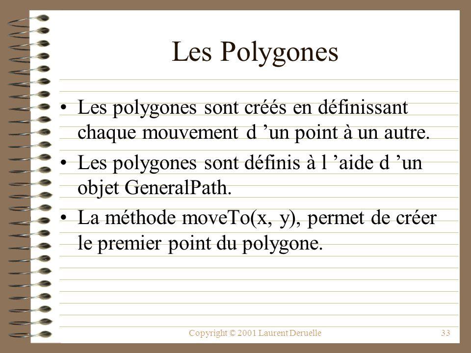 Copyright © 2001 Laurent Deruelle33 Les Polygones Les polygones sont créés en définissant chaque mouvement d un point à un autre. Les polygones sont d