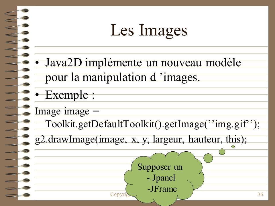 Copyright © 2001 Laurent Deruelle36 Les Images Java2D implémente un nouveau modèle pour la manipulation d images. Exemple : Image image = Toolkit.getD