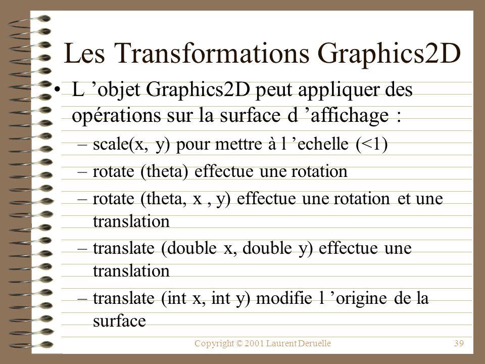 Copyright © 2001 Laurent Deruelle39 Les Transformations Graphics2D L objet Graphics2D peut appliquer des opérations sur la surface d affichage : –scale(x, y) pour mettre à l echelle (<1) –rotate (theta) effectue une rotation –rotate (theta, x, y) effectue une rotation et une translation –translate (double x, double y) effectue une translation –translate (int x, int y) modifie l origine de la surface