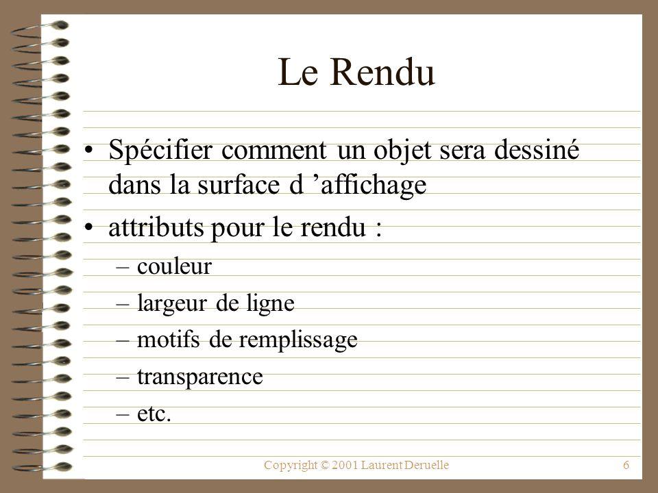 Copyright © 2001 Laurent Deruelle6 Le Rendu Spécifier comment un objet sera dessiné dans la surface d affichage attributs pour le rendu : –couleur –largeur de ligne –motifs de remplissage –transparence –etc.