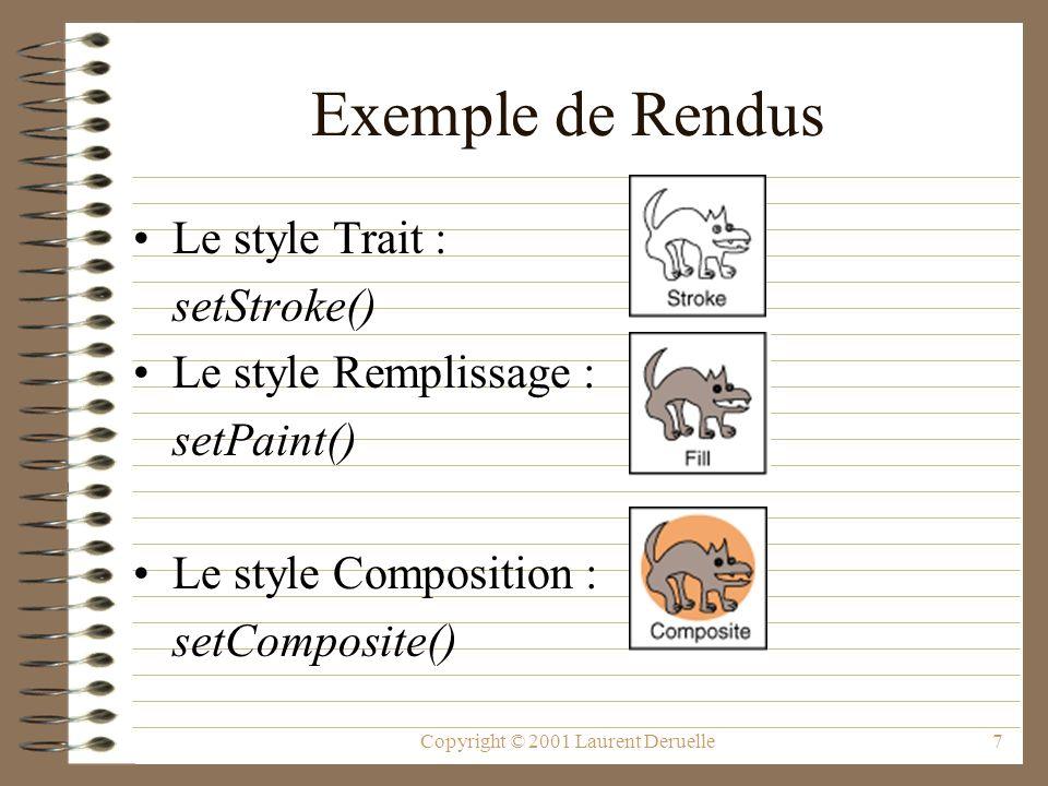 Copyright © 2001 Laurent Deruelle7 Exemple de Rendus Le style Trait : setStroke() Le style Remplissage : setPaint() Le style Composition : setComposit