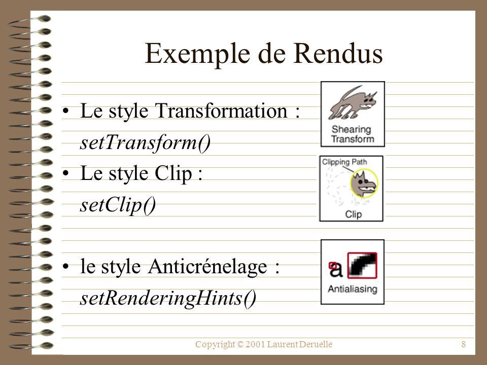 Copyright © 2001 Laurent Deruelle8 Exemple de Rendus Le style Transformation : setTransform() Le style Clip : setClip() le style Anticrénelage : setRenderingHints()