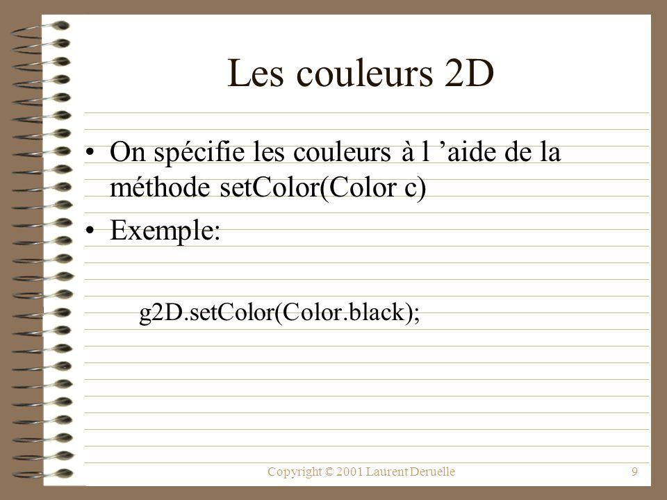 Copyright © 2001 Laurent Deruelle9 Les couleurs 2D On spécifie les couleurs à l aide de la méthode setColor(Color c) Exemple: g2D.setColor(Color.black);