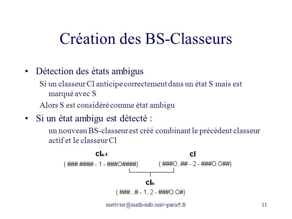 metivier@math-info.univ-paris5.fr11 Création des BS-Classeurs Détection des états ambigus Si un classeur Cl anticipe correctement dans un état S mais