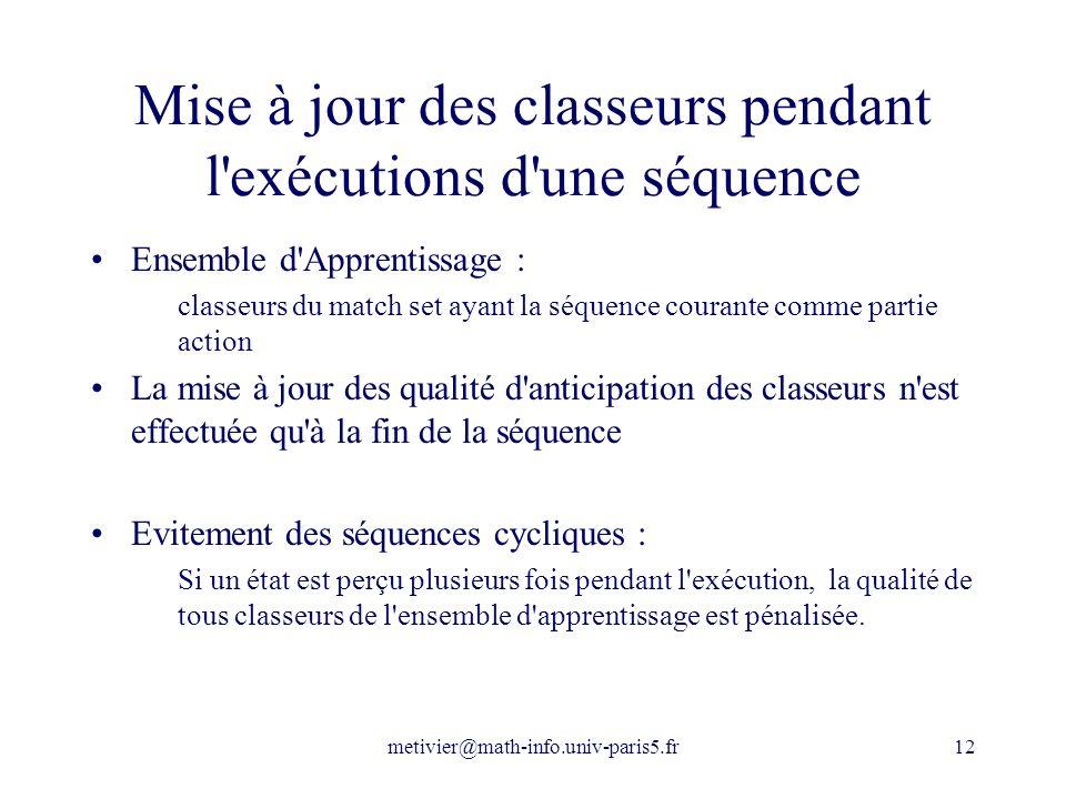 metivier@math-info.univ-paris5.fr12 Mise à jour des classeurs pendant l'exécutions d'une séquence Ensemble d'Apprentissage : classeurs du match set ay