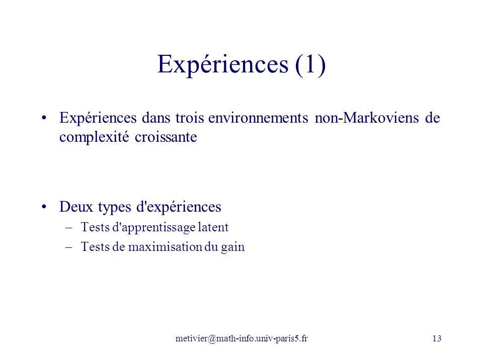 metivier@math-info.univ-paris5.fr13 Expériences (1) Expériences dans trois environnements non-Markoviens de complexité croissante Deux types d'expérie