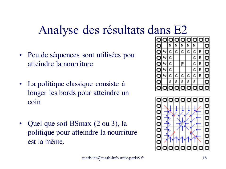 metivier@math-info.univ-paris5.fr18 Analyse des résultats dans E2 Peu de séquences sont utilisées pou atteindre la nourriture La politique classique c