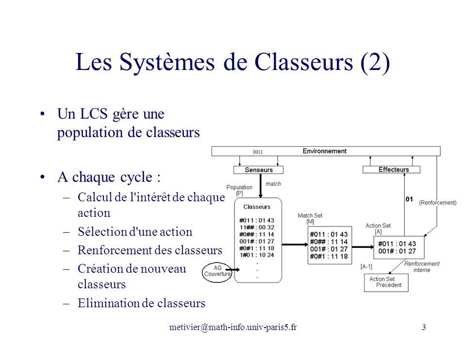 metivier@math-info.univ-paris5.fr3 Les Systèmes de Classeurs (2) Un LCS gère une population de classeurs A chaque cycle : –Calcul de l'intérêt de chaq