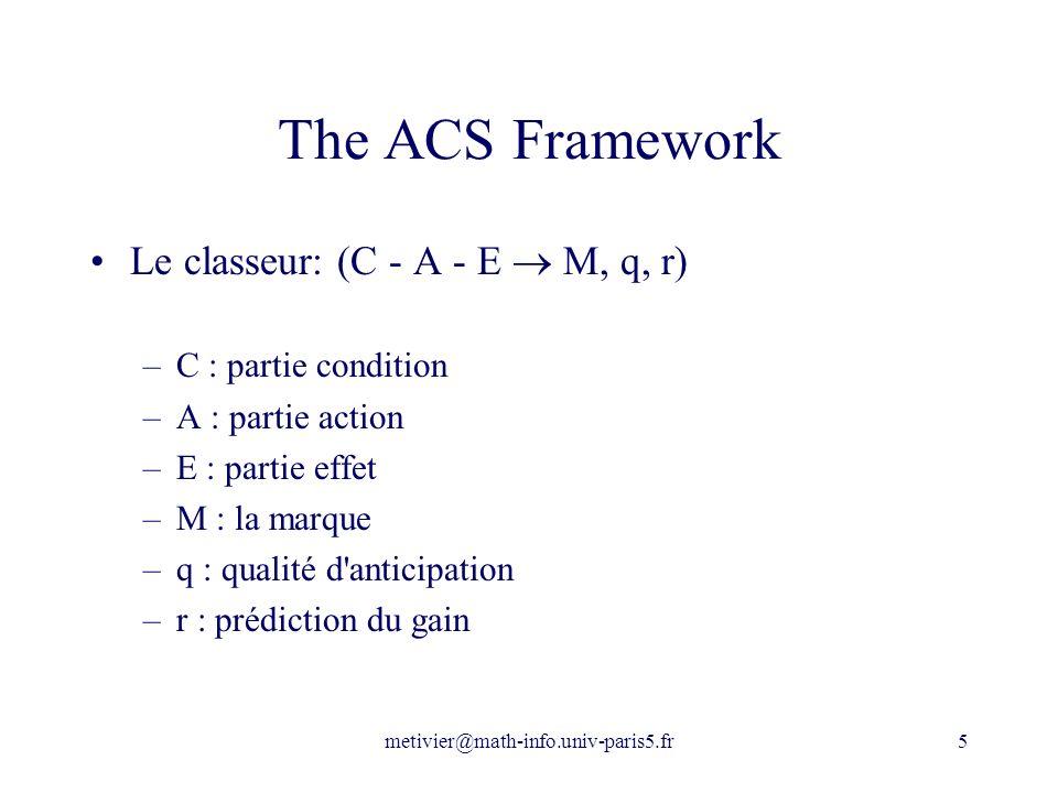 metivier@math-info.univ-paris5.fr5 The ACS Framework Le classeur: (C - A - E M, q, r) –C : partie condition –A : partie action –E : partie effet –M :