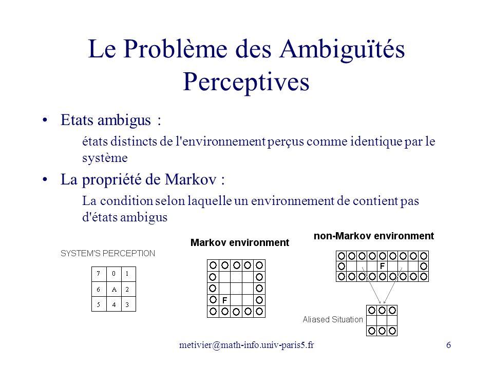 metivier@math-info.univ-paris5.fr6 Le Problème des Ambiguïtés Perceptives Etats ambigus : états distincts de l'environnement perçus comme identique pa