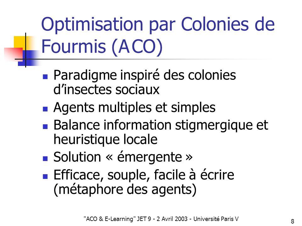 ACO & E-Learning JET 9 - 2 Avril 2003 - Université Paris V 39 Prolongements Nouveaux facteurs individuels (agenda, excellence, etc.) Nouveaux facteurs collectifs (e.g.