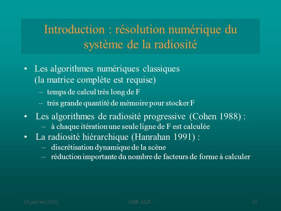 28 janvier 2002GdR ALP10 Introduction : résolution numérique du système de la radiosité Les algorithmes numériques classiques (la matrice complète est