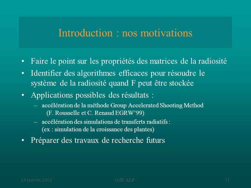 28 janvier 2002GdR ALP11 Introduction : nos motivations Faire le point sur les propriétés des matrices de la radiosité Identifier des algorithmes effi