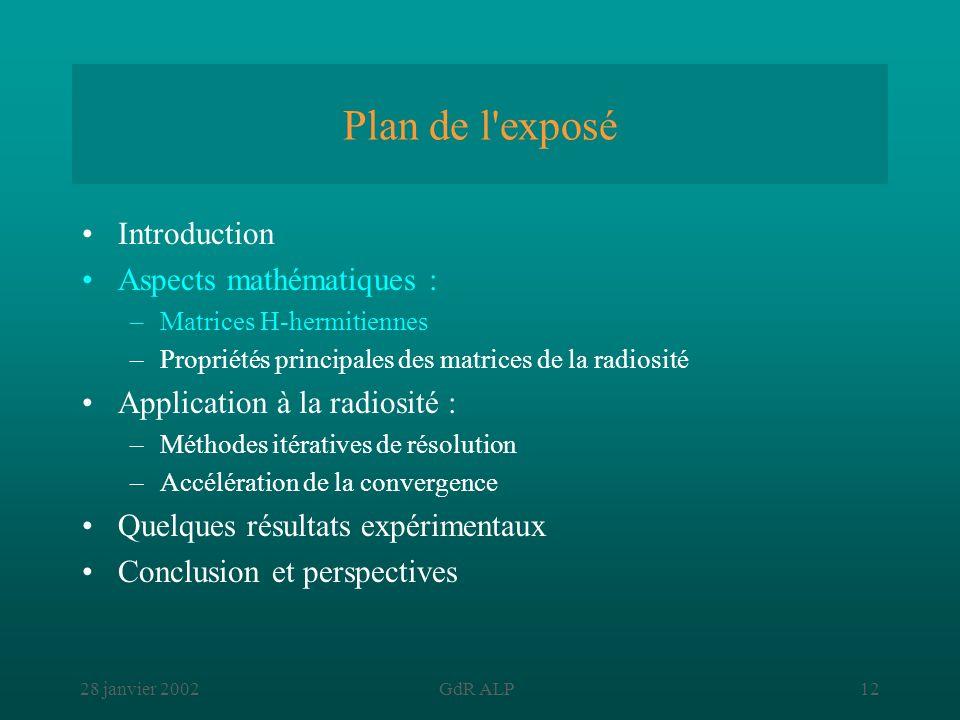 28 janvier 2002GdR ALP12 Plan de l'exposé Introduction Aspects mathématiques : –Matrices H-hermitiennes –Propriétés principales des matrices de la rad