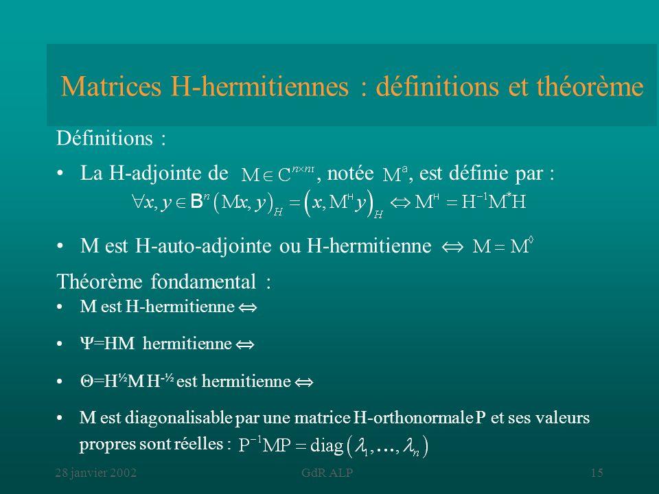 28 janvier 2002GdR ALP15 Matrices H-hermitiennes : définitions et théorème La H-adjointe de, notée, est définie par : Définitions : Théorème fondament