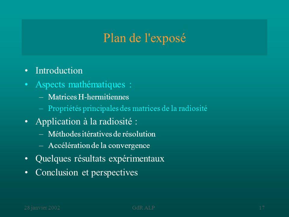 28 janvier 2002GdR ALP17 Plan de l'exposé Introduction Aspects mathématiques : –Matrices H-hermitiennes –Propriétés principales des matrices de la rad