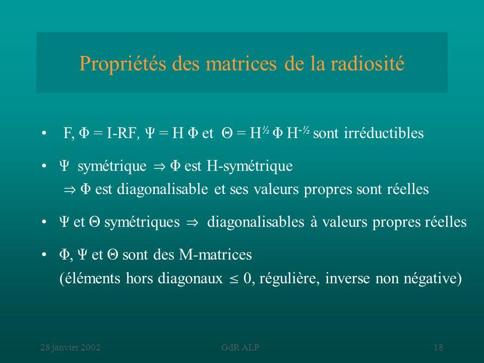 28 janvier 2002GdR ALP18 Propriétés des matrices de la radiosité F, = I-RF, = H et = H ½ H -½ sont irréductibles symétrique est H-symétrique est diago