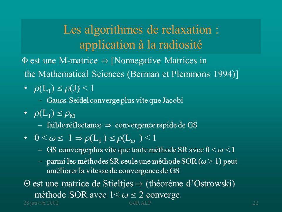 28 janvier 2002GdR ALP22 Les algorithmes de relaxation : application à la radiosité (L 1 ) (J) < 1 –Gauss-Seidel converge plus vite que Jacobi (L 1 )