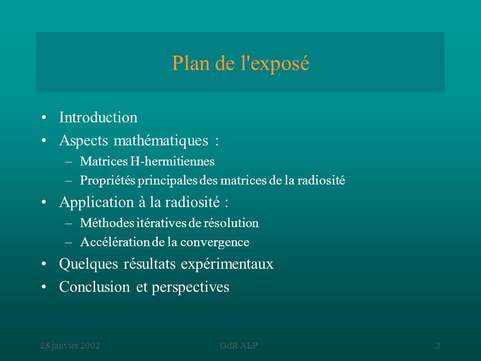 28 janvier 2002GdR ALP3 Plan de l'exposé Introduction Aspects mathématiques : –Matrices H-hermitiennes –Propriétés principales des matrices de la radi