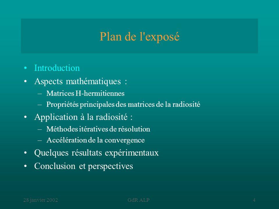 28 janvier 2002GdR ALP4 Plan de l'exposé Introduction Aspects mathématiques : –Matrices H-hermitiennes –Propriétés principales des matrices de la radi