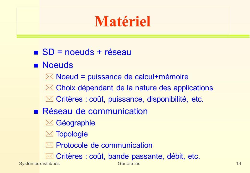 Systèmes distribuésGénéraliés14 Matériel n SD = noeuds + réseau n Noeuds * Noeud = puissance de calcul+mémoire * Choix dépendant de la nature des appl