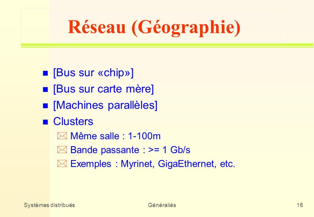 Systèmes distribuésGénéraliés16 Réseau (Géographie) n [Bus sur «chip»] n [Bus sur carte mère] n [Machines parallèles] n Clusters * Même salle : 1-100m