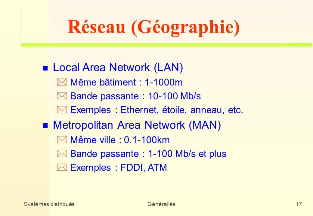 Systèmes distribuésGénéraliés17 Réseau (Géographie) n Local Area Network (LAN) * Même bâtiment : 1-1000m * Bande passante : 10-100 Mb/s * Exemples : E