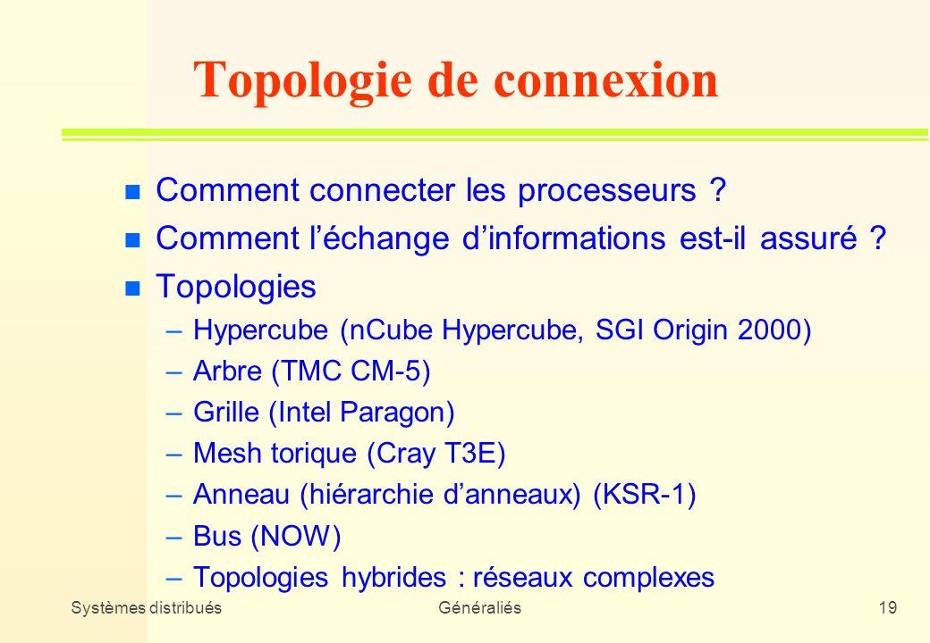 Systèmes distribuésGénéraliés19 Topologie de connexion n Comment connecter les processeurs ? n Comment léchange dinformations est-il assuré ? n Topolo