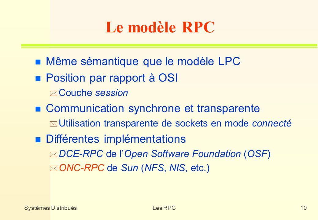 Systèmes DistribuésLes RPC10 n Même sémantique que le modèle LPC n Position par rapport à OSI * Couche session n Communication synchrone et transparen