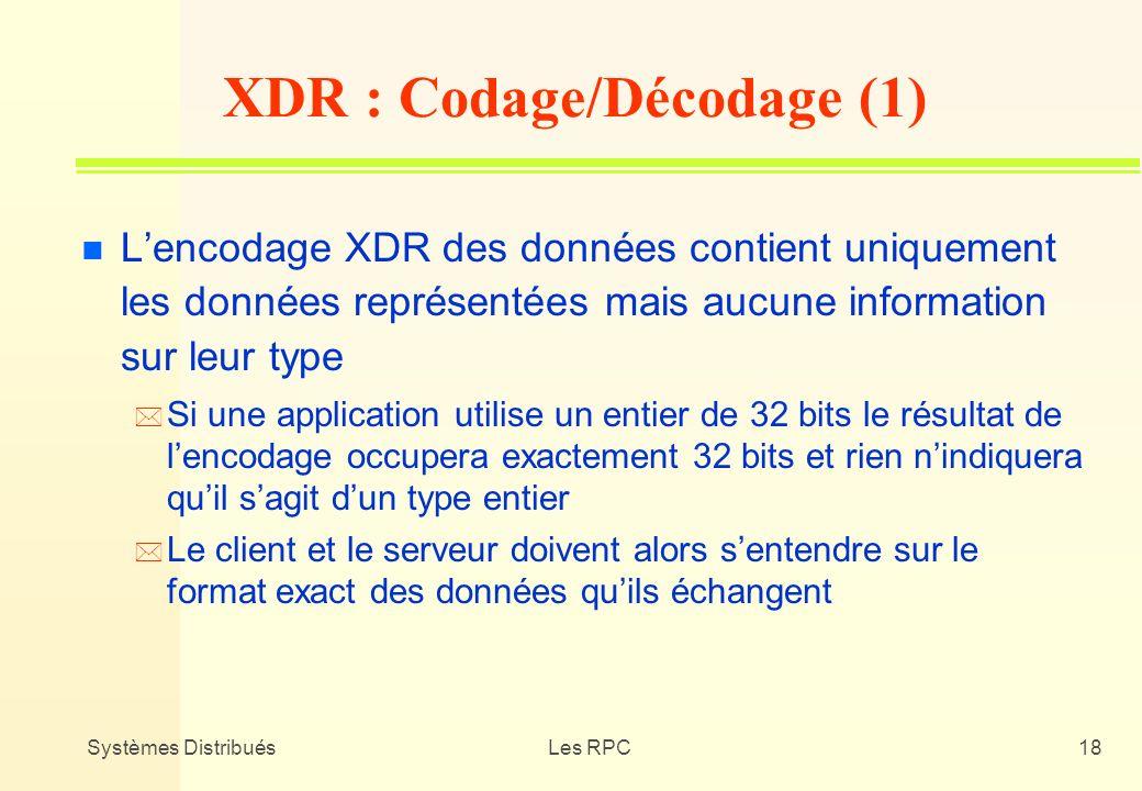 Systèmes DistribuésLes RPC18 n Lencodage XDR des données contient uniquement les données représentées mais aucune information sur leur type * Si une a