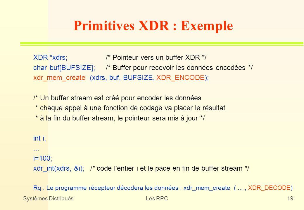 Systèmes DistribuésLes RPC19 XDR*xdrs;/* Pointeur vers un buffer XDR */ charbuf[BUFSIZE];/* Buffer pour recevoir les données encodées */ xdr_mem_creat