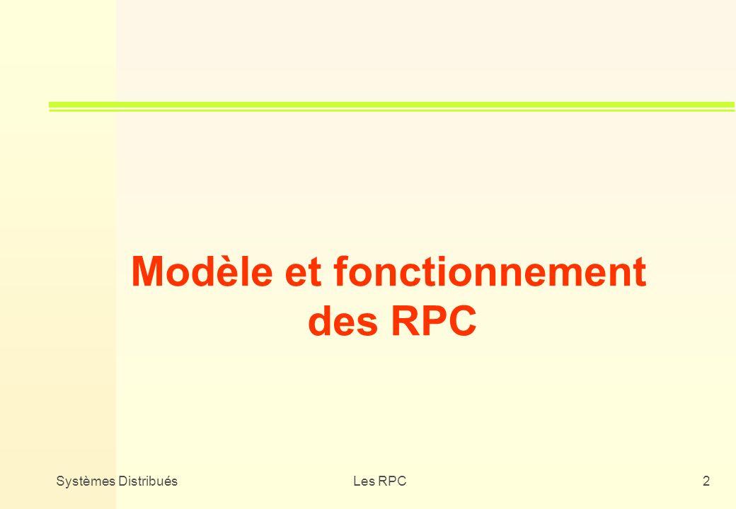Systèmes DistribuésLes RPC2 Modèle et fonctionnement des RPC