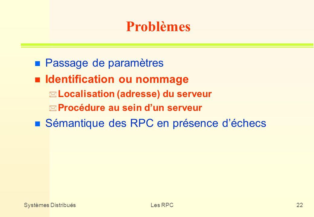 Systèmes DistribuésLes RPC22 n Passage de paramètres n Identification ou nommage * Localisation (adresse) du serveur * Procédure au sein dun serveur n