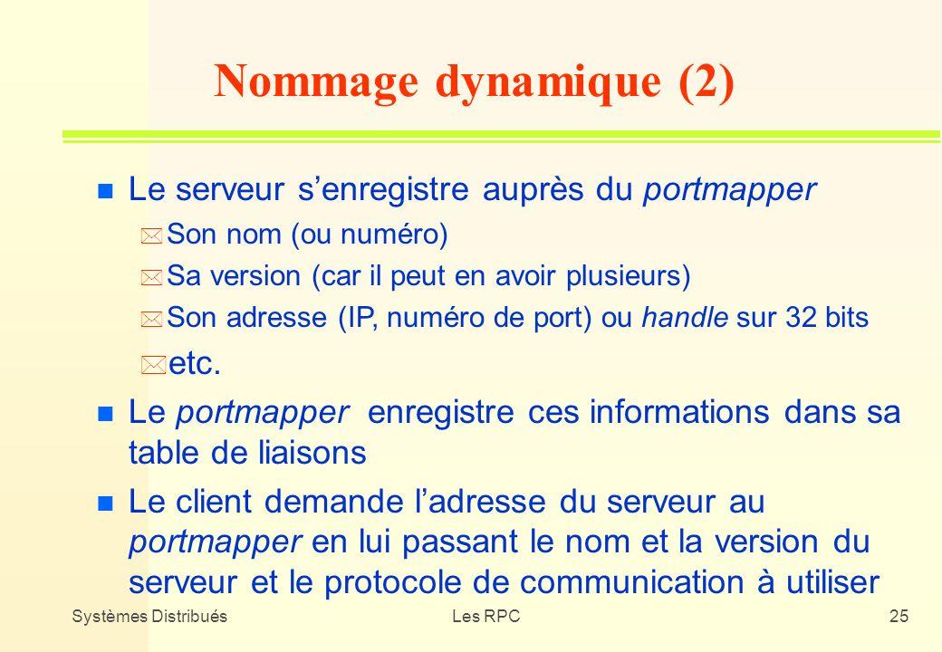 Systèmes DistribuésLes RPC25 n Le serveur senregistre auprès du portmapper * Son nom (ou numéro) * Sa version (car il peut en avoir plusieurs) * Son a