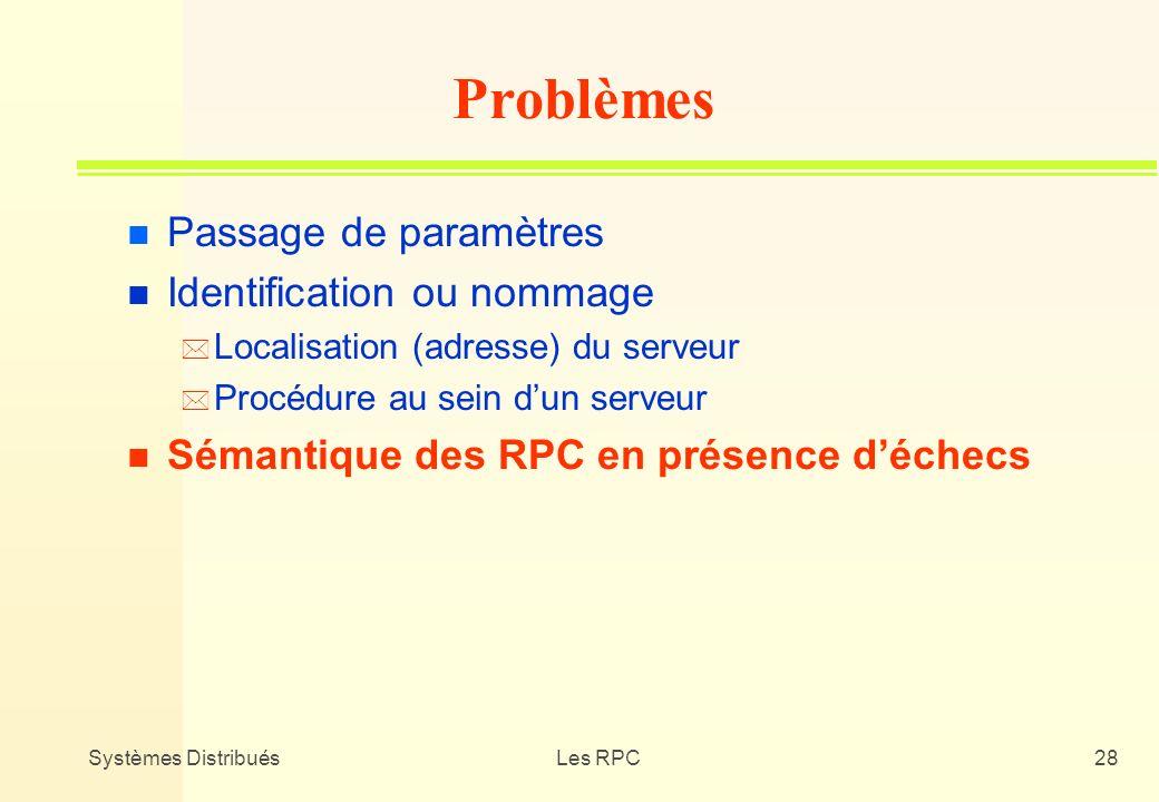 Systèmes DistribuésLes RPC28 n Passage de paramètres n Identification ou nommage * Localisation (adresse) du serveur * Procédure au sein dun serveur n
