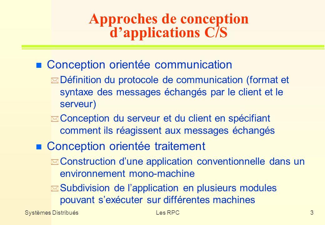 Systèmes DistribuésLes RPC3 Approches de conception dapplications C/S n Conception orientée communication * Définition du protocole de communication (