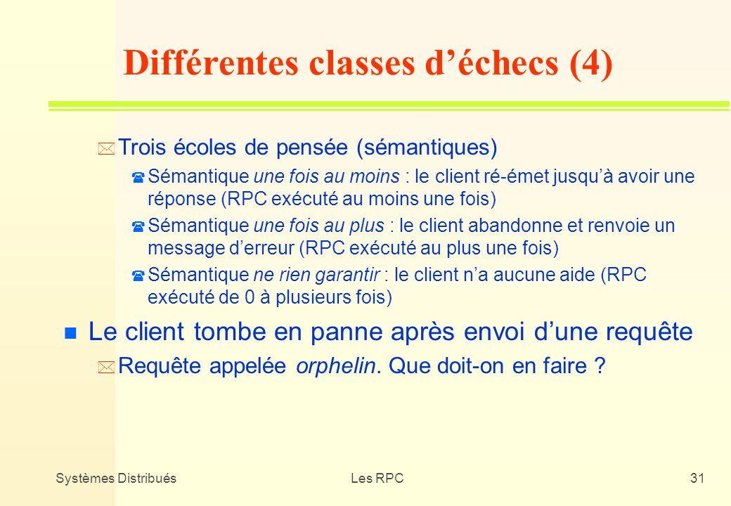Systèmes DistribuésLes RPC31 * Trois écoles de pensée (sémantiques) ( Sémantique une fois au moins : le client ré-émet jusquà avoir une réponse (RPC e