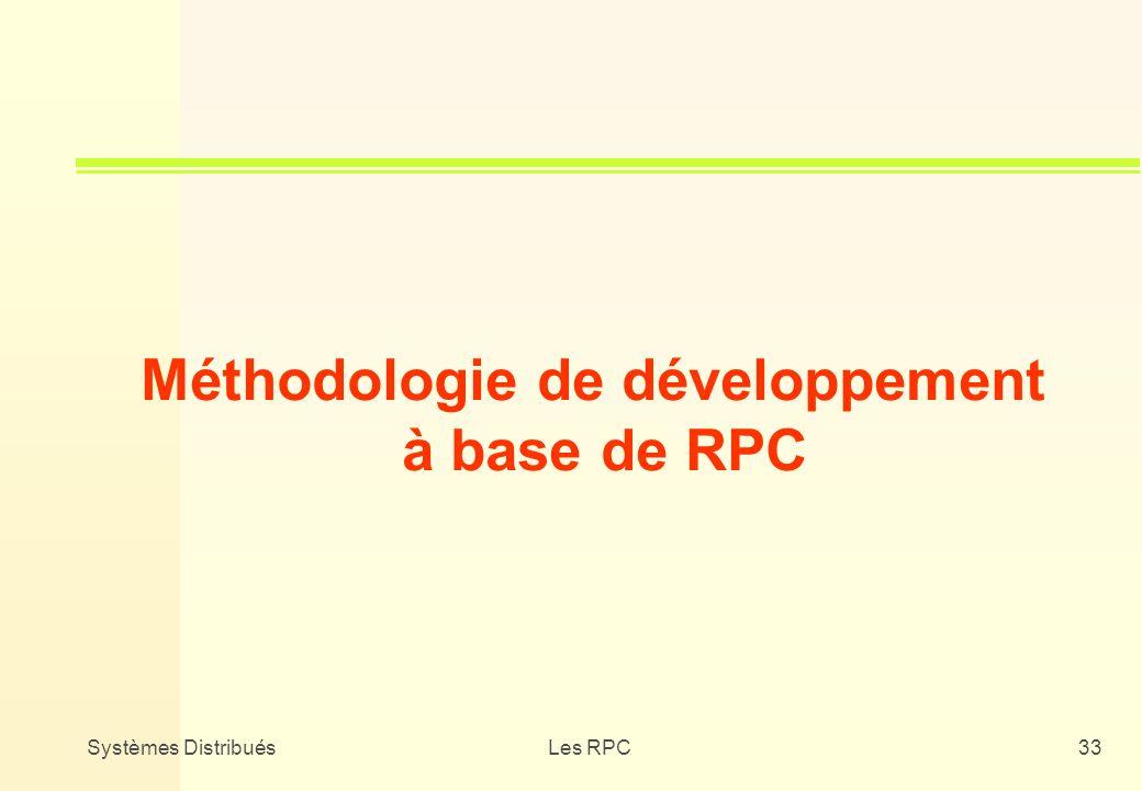 Systèmes DistribuésLes RPC33 Méthodologie de développement à base de RPC